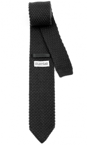 Stickad Ullslips - Licorice Black