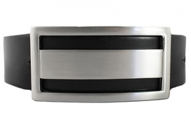 Leather Belt Men Big Buckle Black